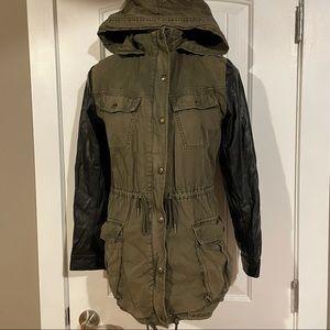 TALULA Aritzia Utility Coat Vegan Leather Sleeves